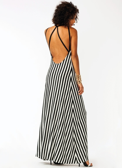 Strappy Striped Maxi Dress