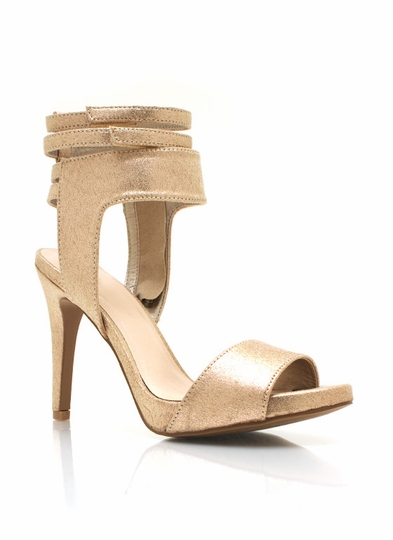 Strappy Trio Metallic Heels