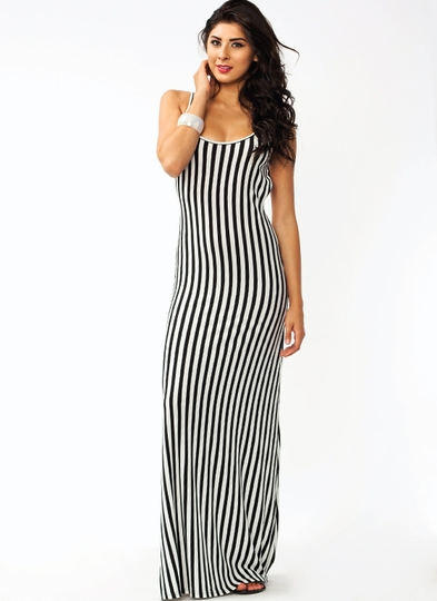 Stripe Up Maxi Dress