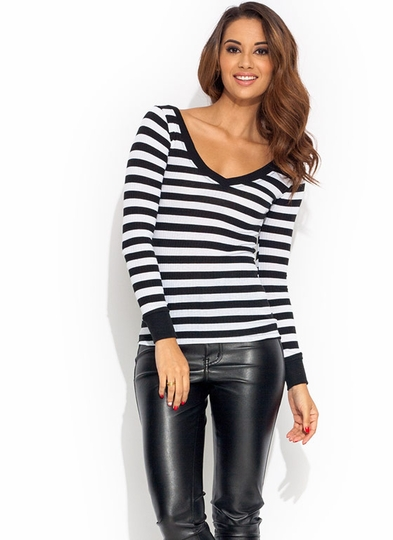 Stripe Ur Griping V-Neck Top