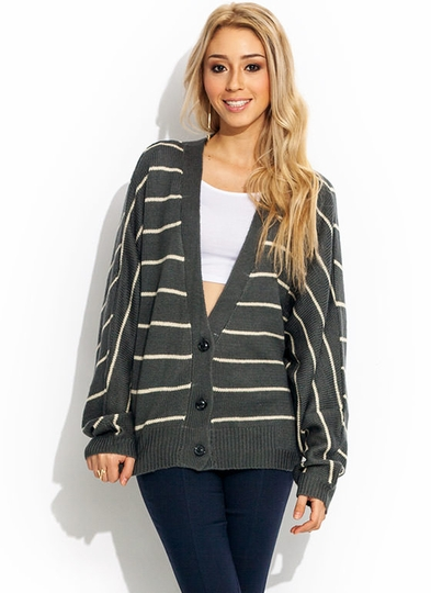 Striped Dolman Grandpa Cardigan
