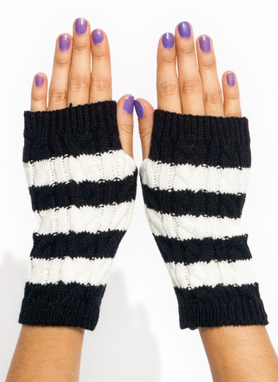 Striped Knit Fingerless Mittens
