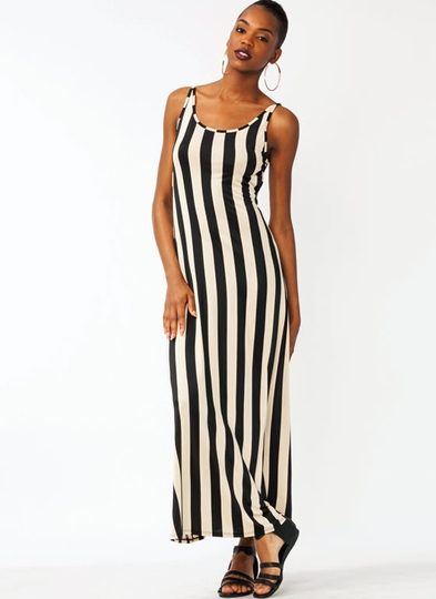 Striped Open Back Maxi Dress