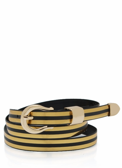 Striped Skinny Belt