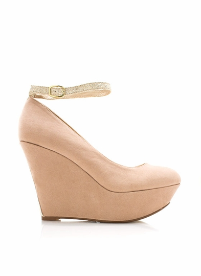 Stripped Down Faux Suede Wedges