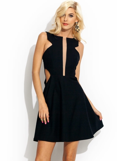 Structured Cut-Out Skater Dress