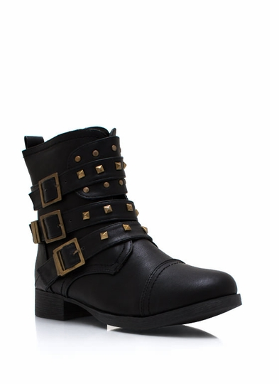 Stud-y Group Buckled Moto Boots