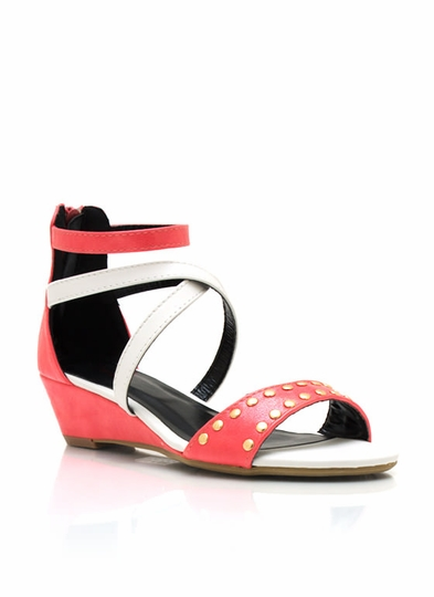 Studded Criss-Cross Wedge Sandals
