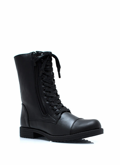 Studded Duo Zipper Combat Boots