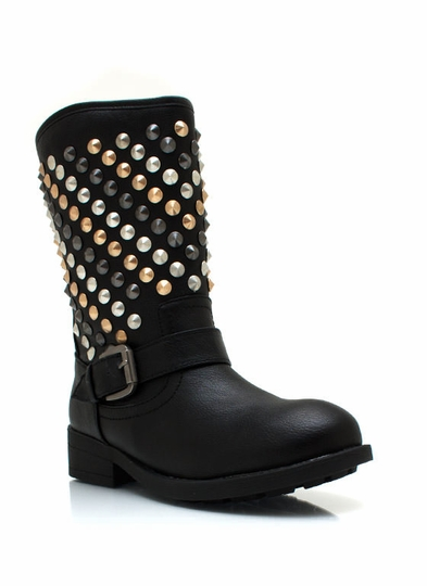 Studded Faux Leather Buckle Boots