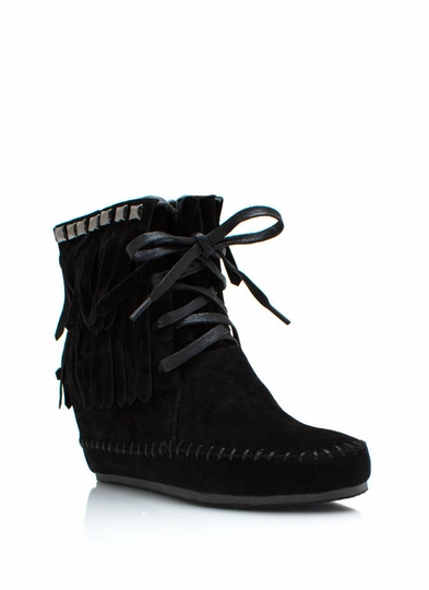 Studded Fringe Wedge Booties