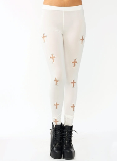 Studded Mesh Cross Leggings