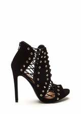 Style Expert Caged Faux Nubuck Heels