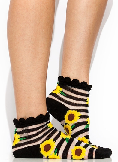 Sunflower Power Sheer Mesh Socks