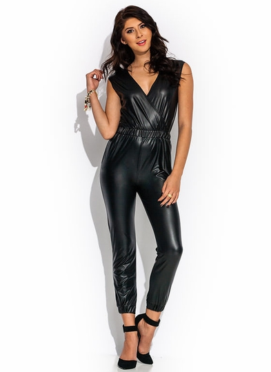 Surplice Party Coated Jumpsuit