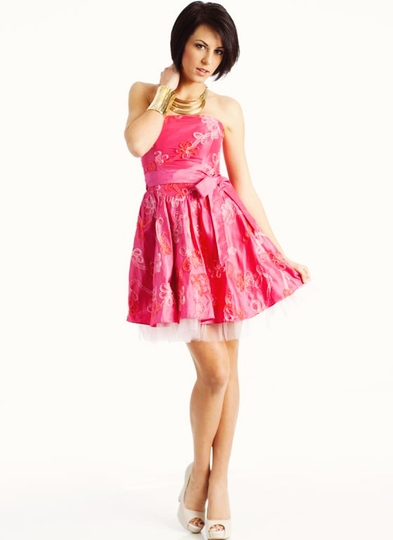 Swirl Rosette Formal Dress