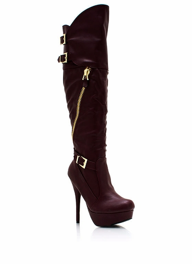 Take A Slant Zippered Platform Boots