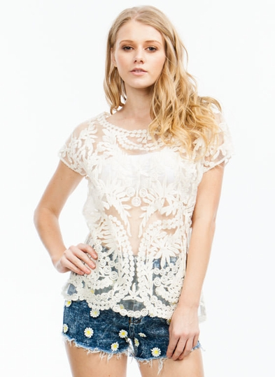 Take Leaf Embroidered Mesh Top