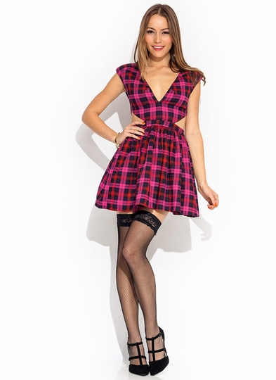 Tartan Plaid Cut-Out Dress