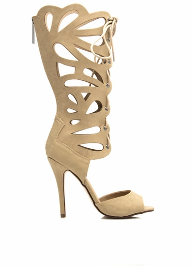 Teardrop Cut-Out Gladiator Heels