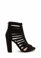 Tell Me More Faux Nubuck Caged Heels