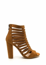 Tell Me More Faux Suede Caged Heels