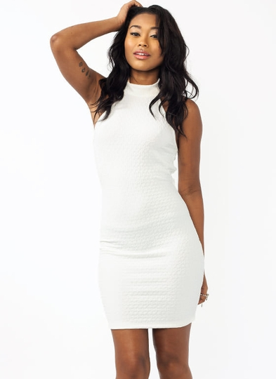 Textured Mockneck Cut-Out Dress
