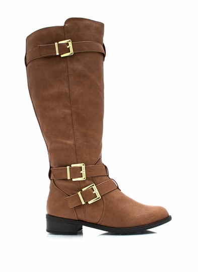 Three Rein Tall Buckled Boots