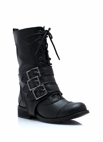 Three Straps Law Buckled Combat Boots
