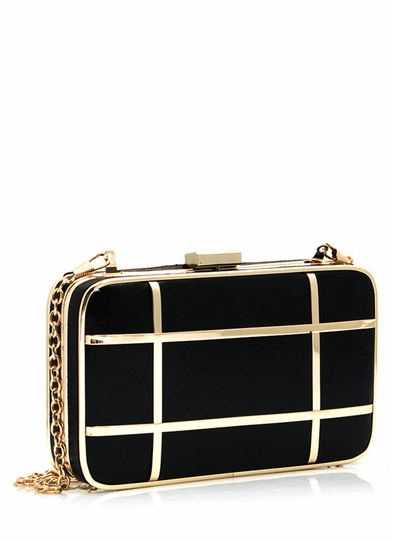 Tic-Tac-Toe Faux Leather Clutch
