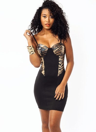 Tiger Bustier Bodycon Dress