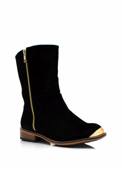 Tipped Metal Faux Suede Boots