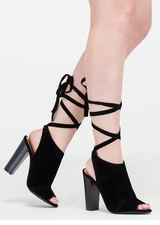 To Tie For Chunky Faux Suede Heels