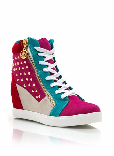 Total Stud Colorblock Wedge Sneakers