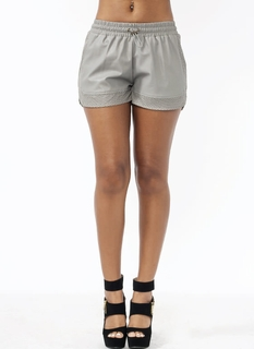 Track Star Faux Leather Shorts