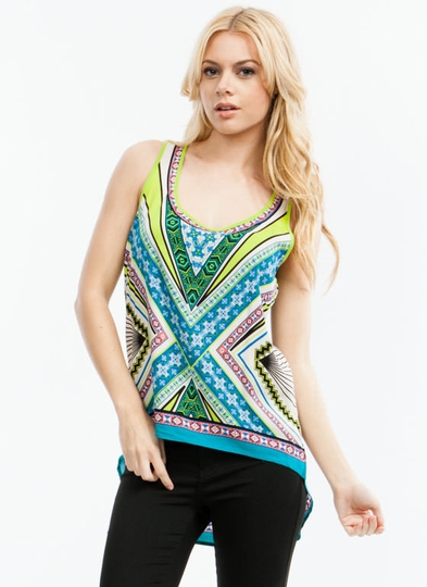 Tri And Tribal Again High-Low Tank