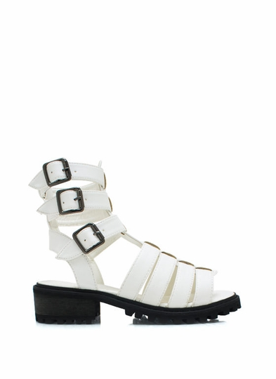 Tri-Buckle Strappy Laddered Sandals
