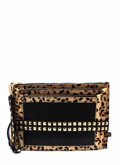 Tri Me Studded Animal Clutch