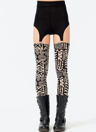 Tribal Print Garter Leggings