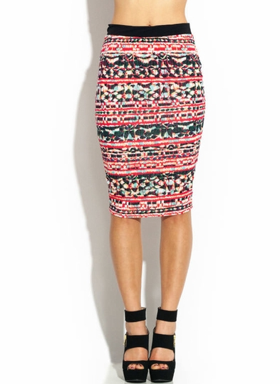 Tribal Watercolor Print Skirt