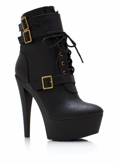 Triple Buckle Faux Leather Booties