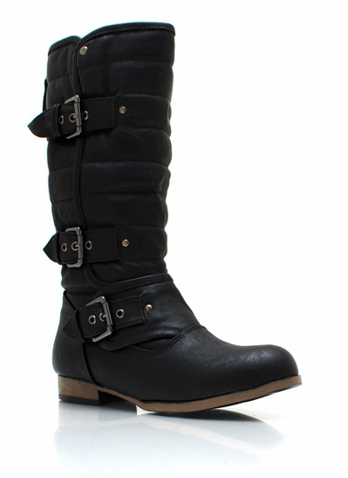 Triple Buckle Faux Leather Boots