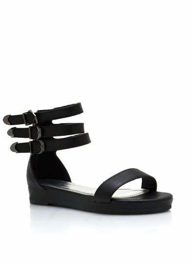 Triple Buckle Faux Leather Sandals
