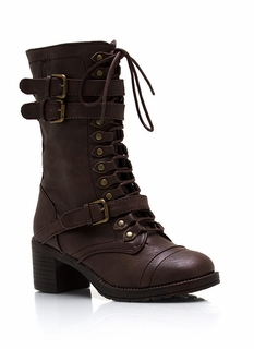 Triple Buckle Heeled Combat Boots