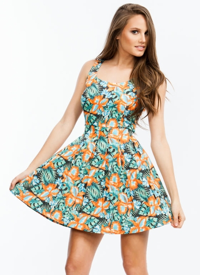 Tropical Thunder Pleated Floral Dress