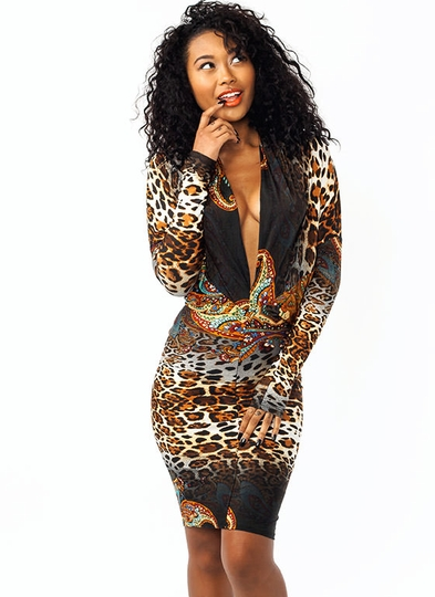 Turn It Around Mixed Leopard Dress