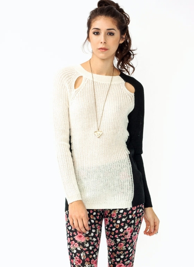 Two-Tone Cut-Out Sweater