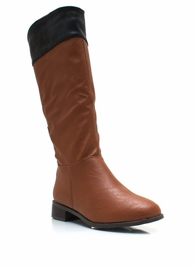 Two-Tone Faux Leather Riding Boots