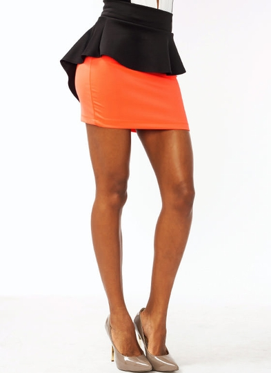 Two-Tone Peplum Skirt