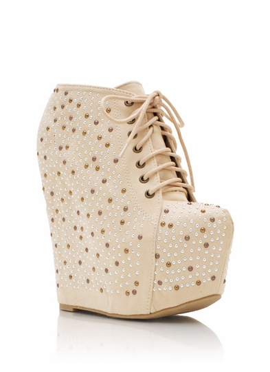 Up The Ante Embellished Wedge Booties